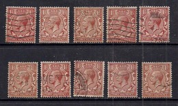 GB 1924 - 26 KGV 1 1/2d Brown X 10 Variety/shades Wmk 111 ( A87 )