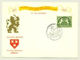 Nederland - 1943 - 5 Cent Steigerende Schimmels Met Perfin - Jubileumkaart 50 Jaar Pzv Breda - Periode 1891-1948 (Wilhelmina)