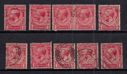 GB 1924 - 26 KGV 1d Red X 10 Variety/shades Wmk 111 ( A251 )