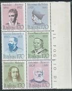 Italia, Italy 1978; Personaggi Illustri, Serie Completa In Blocco: Antonio Meucci Inventore Del Telefono, E Altri. Nuovi - Telecom