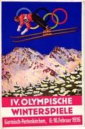 1 Post Card Olympische Winterspiele Garmisch Partenkirchen 1936 Lithography Ski  Ski-Jumping  With Stamp Februari 1936 - Sports D'hiver