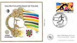 L4R247 FRANCE 1992 FDC CNEP Année Olympique  03 04 1992 Tours /env.  Illus.