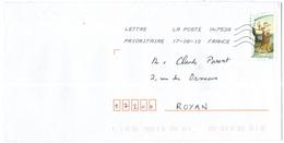 FRANCIA - France - 2010 - Lettre Prioritaire 20g Tambourin Théodore Chassériau - Viaggiata Da 04753A Per Royan, France - France