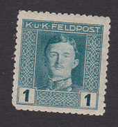 Austria, Scott #M49a, Mint Hinged, Emperor Karl I Overprinted Military Stamp, Issued 1917 - Austria