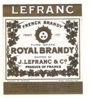 étiquette -1920  Royal Brandy LEFRANC  - Impression Dorée  - 12cm X14cm  -grand Format  - - Vino Tinto