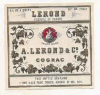 étiquette -1940/60  COGNAC  LEROND Pour Export   - Impression Dorée  - 9cm X12cm - Whisky