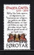 Faroe Islands MNH 2015 24kr Magna Carta - 800 Years - Histoire