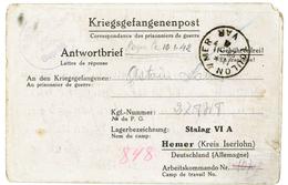 VAR CLFM PRISONNIER 1941 TOULON / MER => STALAG VI A = HEMER KREIS ISERLOHN  ( MUNSTER ) ALLEMAGNE - 1921-1960: Moderne