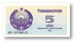 UZBEKISTAN - 5 SUM - 1992 ( 1993 ) - Pick 63 - UNC. - Serie EM - 2 Scans - Uzbekistan