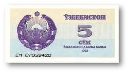 UZBEKISTAN - 5 SUM - 1992 ( 1993 ) - Pick 63 - UNC. - Serie EM - 2 Scans - Ouzbékistan
