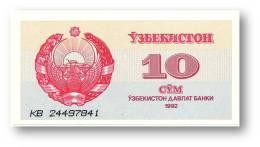 UZBEKISTAN - 10 SUM - 1992 ( 1993 ) - Pick 64 - UNC. - Serie KB - 2 Scans - Ouzbékistan