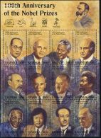 Uganda 1995 Nobel Prize Winners 12v M/s, (Mint NH), History - Politicians - Nobel Prize Winners - Nelson Mandela