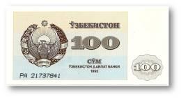UZBEKISTAN - 100 SUM - 1992 ( 1993 ) - Pick 67 - UNC. - Serie PA - 2 Scans - Usbekistan