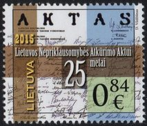 Lithuania. Lituania. Litauen. 2015. 25th Anniversary Of Lithuania's Independence.. MNH**