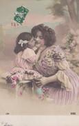 """FANTAISIE---FEMME + Petite Fille-----""""le Baiser""""----voir 2 Scans - Femmes"""