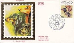 """FDC  MONACO Premier Jour Soie 1988    Exposition Canine Internationale """" Les TECKELS """""""