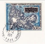 TAAF Y&T PA20 Carte Des îles Kerguelen Oblit.St Paul Et Amsterdam 23/04/71 Sur Fragment