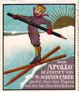 1 Sluitzegel Poster Stamp Pub Apollo Crayon Bleistift Pencil Image Ski 5,5cmx6,5cm - Sports D'hiver