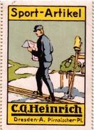 1 Sluitzegel Poster Stamp Pub  Sport-Artikel Heinrich Dresden SKI  4,5cmx6,5cm - Wintersport