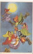 Glad Päsk Tillönskas Av Frohe Ostern  Vollmond  Hexen Fliegen Auf Besen Durch Die Luft Signiert - Easter