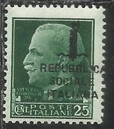 ITALIA REGNO ITALY KINGDOM 1944 RSI IMPERIALE CENT 25 SOPRASTAMPA DI FIRENZE CENT. 25 VARIETA VARIETY MNH FIRMATO SIGNED