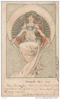 Illustrateur MUCHA Alphonse, Femme Au Trône, Timbres Arrachés Mais Recto Tres Propre (idem Col Des Cent)