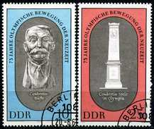 DDR - Michel 1489 / 1490 - OO Gestempelt (A) - 75 Jahre Olympische Bewegung