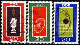 DDR - Michel 1491 / 1493 - OO Gestempelt (A) - Schach, Rad, Volleyball