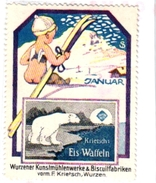 1 Sluitzegel Poster Stamp Pub Eis-Wafflen Wurzener Biscuitfabrieken Polar Beer Ours Blanc SKI Artist Krietsch 4cmx5,5cm - Sports D'hiver