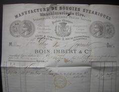 1873 Lyon  Jolie Facture De Boin Et Imbert Bougies Stéariques, Pour Joyeuse Ambulant Lyon à Marseille - Marcophilie (Lettres)