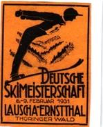 1 Sluitzegel Poster Stamp  Deutsche Skimeisterschaft 1931 Lauscha-Ernstthal THURINGER WALD  SKI  4,3cmx 6cm - Sports D'hiver