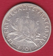 France 1 Franc Semeuse Argent 1901 - France