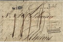 1828- Letter From WIEN + L.A.  + Framed FRANCE / PAR / HUNINGUE  Black To  Reims ( France ) - Austria
