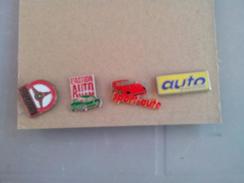 LOT DE 4 PIN'S PINS  AUTO JOURNAL ACTION SPORT PASSION ROUGE VERT - Lotti
