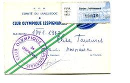 RUGBY - Carte D'adhérent CLUB OLYMPIQUE LESPIGNANAIS (Hérault) - Rugby