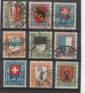 SUISSE 1921/1923 -N° 185 A 193 -OBLITERES -COTE :123 EUROS.