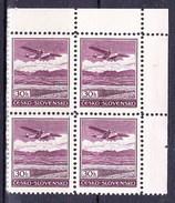 ** Tchécoslovaquie 1930 Mi 407 (Yv PA 18), (MNH) Bloc De 4 - Coin De Feuille