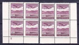 ** Tchécoslovaquie 1930 Mi 407 (Yv PA 18), (MNH) Blocs De 4 - Coins De Feuille - No De Planche