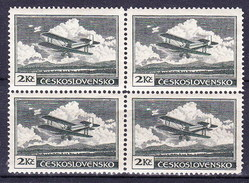 ** Tchécoslovaquie 1930 Mi 305 A (Yv PA 12), (MNH) Blocs De 4 - Type I