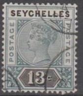 SEYCHELLES - 1890 13c Queen Victoria, Die II. Scott 9. Used - Seychelles (...-1976)
