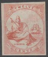 LIBERIA -  IMPERF 12c Rose Liberia. PROOF?. Mint No Gum - Liberia