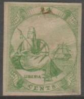 LIBERIA -  1860 IMPERF 24c Liberia. Scott 3. Mint - Liberia