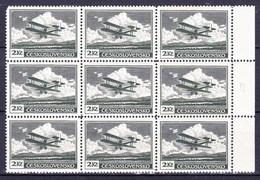 ** Tchécoslovaquie 1930 Mi 305 A (Yv PA 12), (MNH) Bloc De 9, Type II