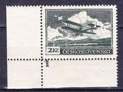 ** Tchécoslovaquie 1930 Mi 305 A (Yv PA 12), (MNH) Type I, Coin De Feuille Avec No De Planche
