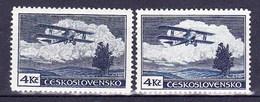 ** Tchécoslovaquie 1930 Mi 307 A (Yv PA 14), (MNH) Type I Et II Bleu Foncé