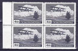 ** Tchécoslovaquie 1930 Mi 307 A (Yv PA 14), (MNH) Bloc De 4, Type II Bleu-gris