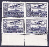 ** Tchécoslovaquie 1930 Mi 310 B (Yv PA 17), (MNH) Bloc De 4, Dentelé 12 1/4