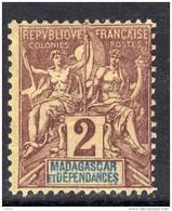 Madagascar N° 29 X  2 C. Lilas-brun Sur Paille,  Trace Charnière Moyenne, Centrage Moyen  Sinon   TB