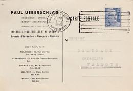 Carte Commerciale  Paul UEBERSCHLAG / Ingénieur Brevets D'invention / 68 Mulhouse / Flamme Mulhouse Gare - Maps