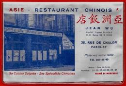 Rare Plan De Métro & Calendrier Publicitaire 75012 PARIS - Restaurant Chinois Jean WU Rue De CHALON * Pub Publicité 1969 - Europe
